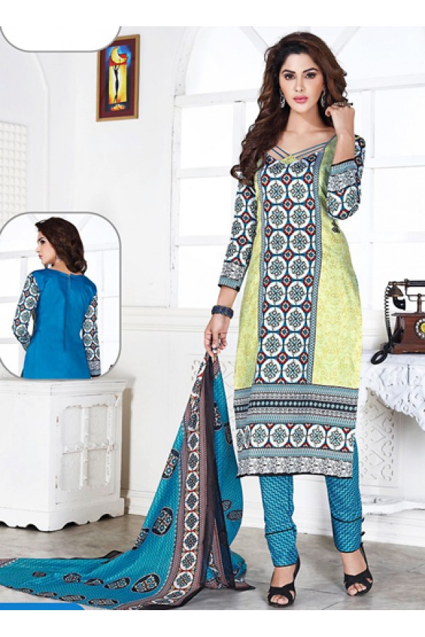 Office Wear Yellow & Sky Blue Cotton Salwar Suit  - 74830