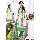 Office Wear Beige & Green Cotton Churidar Suit  - 74831