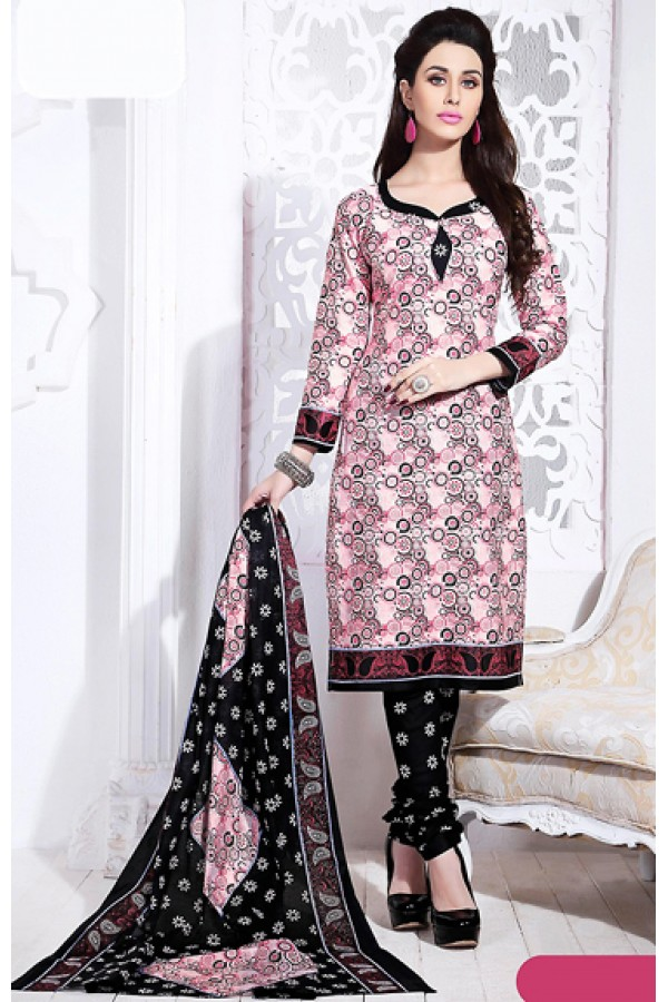 Office Wear Pink & Black Cotton Salwar Suit  - 74833