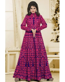 Designer Blue & Pink Silk Embroidery Anarkali Suit  - 74933