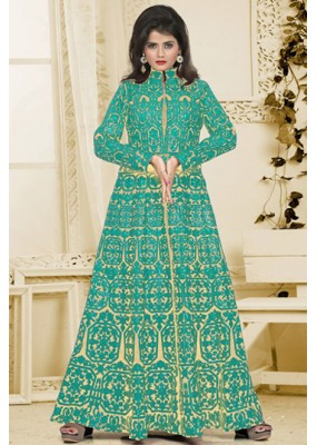 Bridal Wear Beige & Turquoise Silk Embroidery Anarkali Suit  - 74934