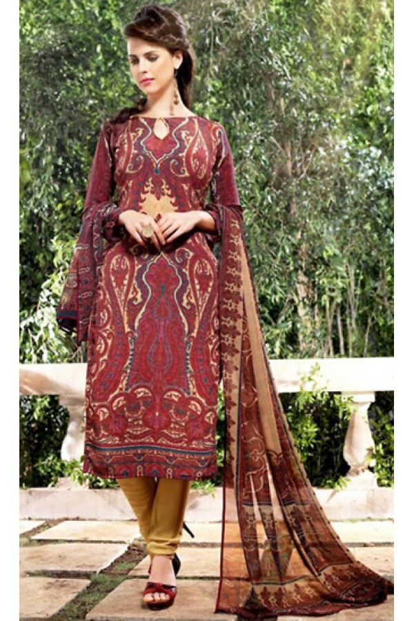 Office Wear Red & Brown Georgette Salwar Suit  - 75024