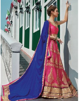 Wedding Wear Pink & Blue Net Lehenga Choli - 75240