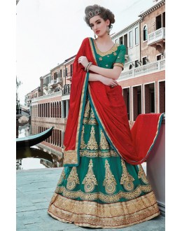 Bridal Wear Green & Red Net Lehenga Choli - 75241