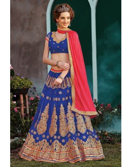 Traditional Blue & Pink Net Lehenga Choli - 75245