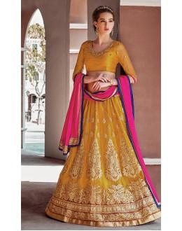 Traditional Yellow & Pink Embroidered Net Lehenga Choli - 75247