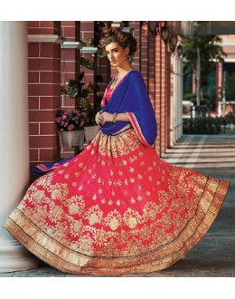 Festival Wear Pink & Blue Net Lehenga Choli - 75249