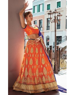 Traditional Orange & Blue Net Lehenga Choli - 75250