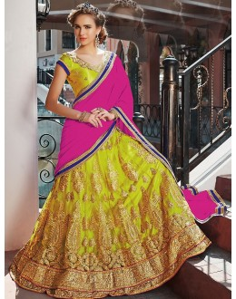 Ethnic Wear Green & Pink Net Lehenga Choli - 75253