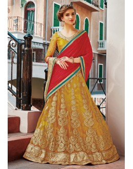 Ethnic Wear Yellow & Red Net Lehenga Choli - 75255