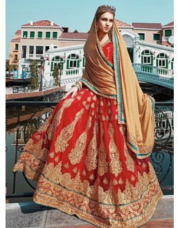 Wedding Wear Red & Beige Net Lehenga Choli - 75258