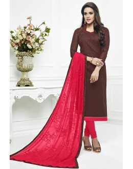 Casual Wear Brown & Pink Cotton Churidar Suit  - 75224