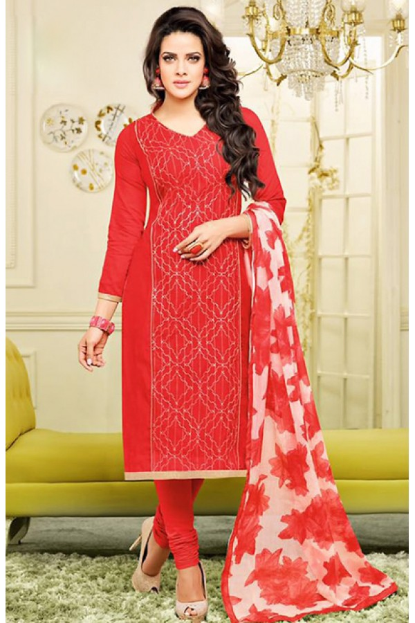 Ethnic Wear Red Chanderi Silk Salwar Suit - 75261