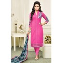 Office Wear Pink & Grey Chanderi Silk Salwar Suit - 75264