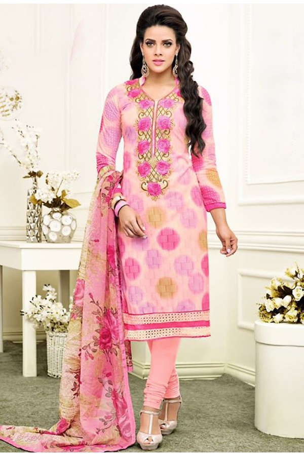 Office Wear Pink Chanderi Silk Churidar Suit - 75269