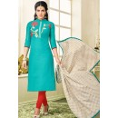 Ethnic Wear Turquoise Chanderi Silk Salwar Suit - 75270