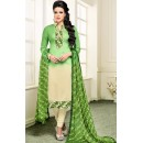 Festival Wear Green & Beige Chanderi Silk Salwar Suit - 75275