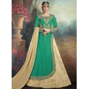 Festival Wear Green & Brown Silk Lehenga Suit - 75652