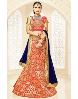 Festival Wear Red & Blue Brocade Lehenga Choli - 75811