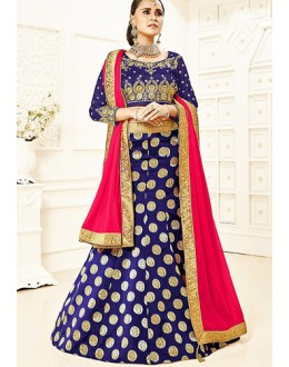 Ethnic Wear Blue & Pink Brocade Lehenga Choli - 75812