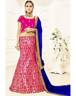 Traditional Pink & Blue Brocade Lehenga Choli - 75813