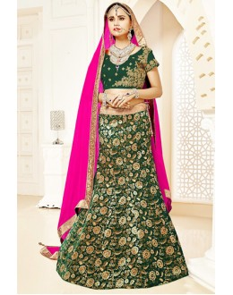 Ethnic Wear Green & Pink Brocade Lehenga Choli - 75816