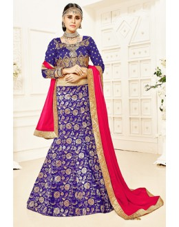Designer Purple & Pink Brocade Lehenga Choli - 75820