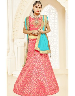 Ethnic Wear Pink & Sky Blue Brocade Lehenga Choli - 75821