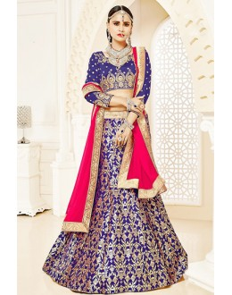 Bridal Wear Blue & Pink Brocade Lehenga Choli - 75822