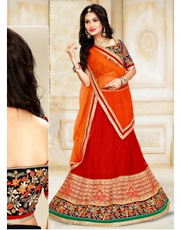 Ethnic Wear Red & Orange Net Lehenga Choli - 75914