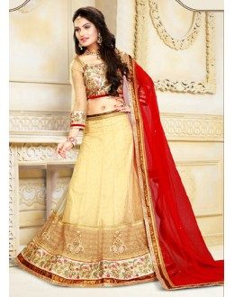 Traditional Beige & Red Net Lehenga Choli - 75915