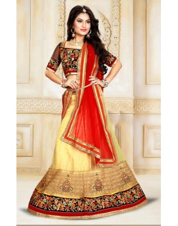 Festival Wear Beige & Red Net Lehenga Choli - 75916