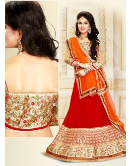 Ethnic Wear Red & Orange Net Lehenga Choli - 75917