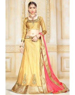 Traditional Beige & Pink Net Lehenga Choli - 75922