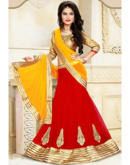 Ethnic Wear Red & Yellow Net Lehenga Choli - 75923