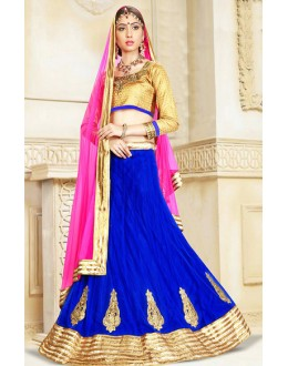 Traditional Blue & Pink Net Lehenga Choli - 75924