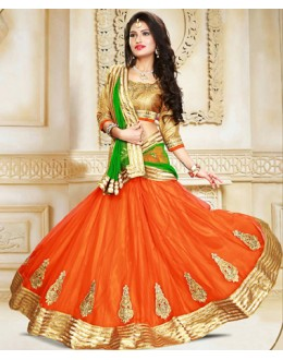 Ethnic Wear Orange & Green Net Lehenga Choli - 75925