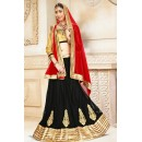 Ethnic Wear Black & Red Net Lehenga Choli - 75927