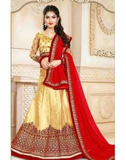 Wedding Wear Beige & Red Silk Lehenga Choli - 75928