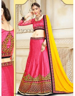Designer Pink & Yellow Silk Lehenga Choli - 75929