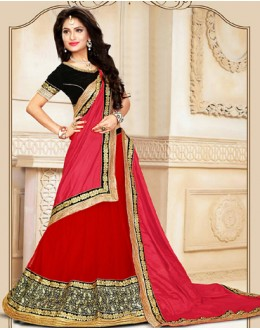 Traditional Red & Pink Net Lehenga Choli - 75930