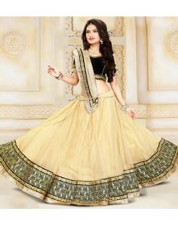 Ethnic Wear Beige & Black Net Lehenga Choli - 75931