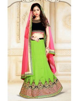 Ethnic Wear Green & Pink Silk Lehenga Choli - 75933