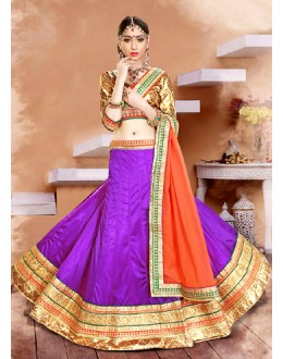 Ethnic Wear Purple & Orange Lycra Lehenga Choli - 75934