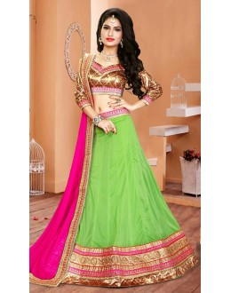 Traditional Green & Pink Lycra Lehenga Choli - 75935