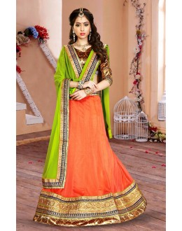 Ethnic Wear Orange & Green Lycra Lehenga Choli - 75936