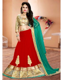 Wedding Wear Red & Green Net Lehenga Choli - 75941