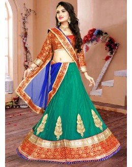 Wedding Wear Green & Blue Net Lehenga Choli - 75942