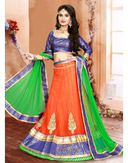 Traditional Orange & Green Net Lehenga Choli - 75943