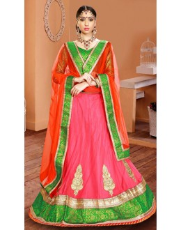 Ethnic Wear Pink & Red Net Lehenga Choli - 75944